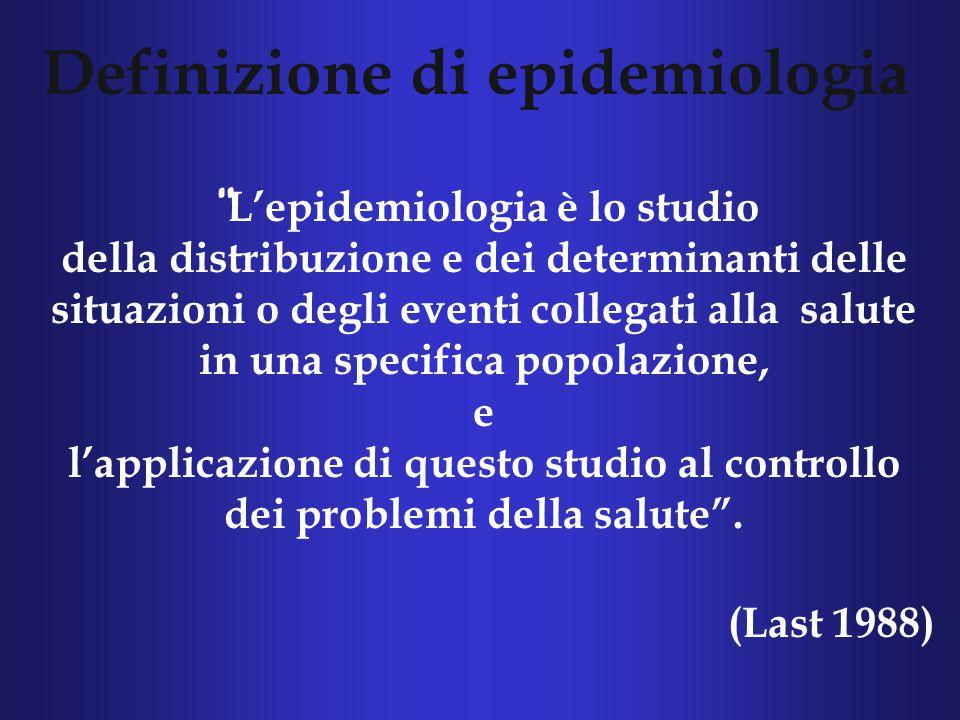 Definizione di epidemiologia L'epidemiologia è lo studio della distribuzione e dei determinanti delle situazioni o degli eventi collegati alla salute in una specifica popolazione, e l'applicazione di questo studio al controllo dei problemi della salute .