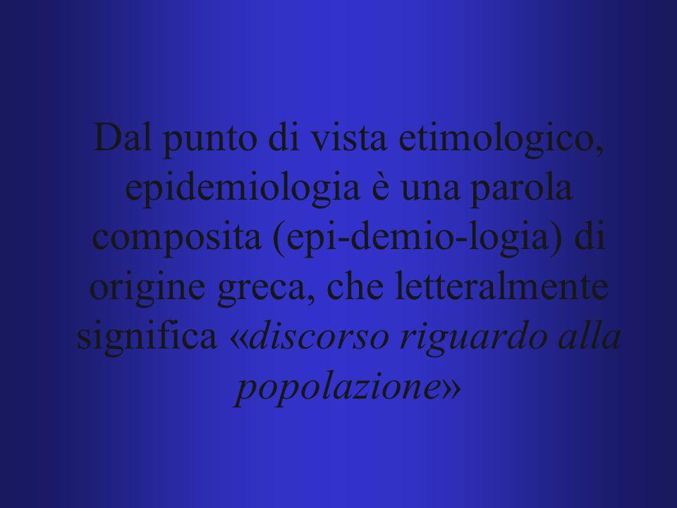 Dal punto di vista etimologico, epidemiologia è una parola composita (epi-demio-logia) di origine greca, che letteralmente significa «discorso riguardo alla popolazione»