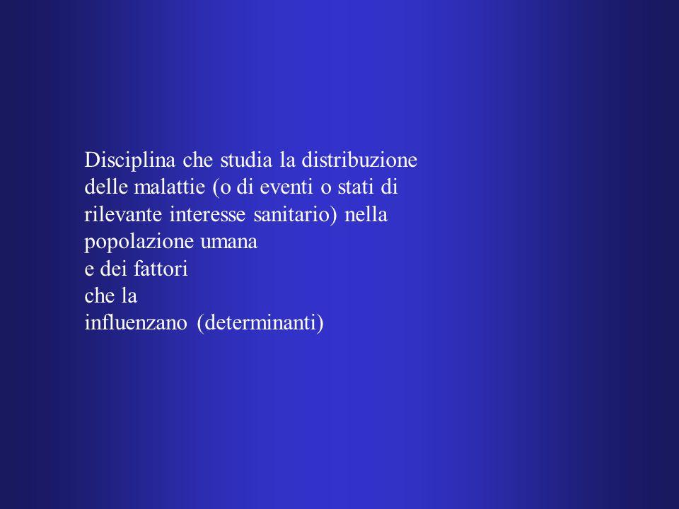 Disciplina che studia la distribuzione delle malattie (o di eventi o stati di rilevante interesse sanitario) nella popolazione umana e dei fattori che la influenzano (determinanti)