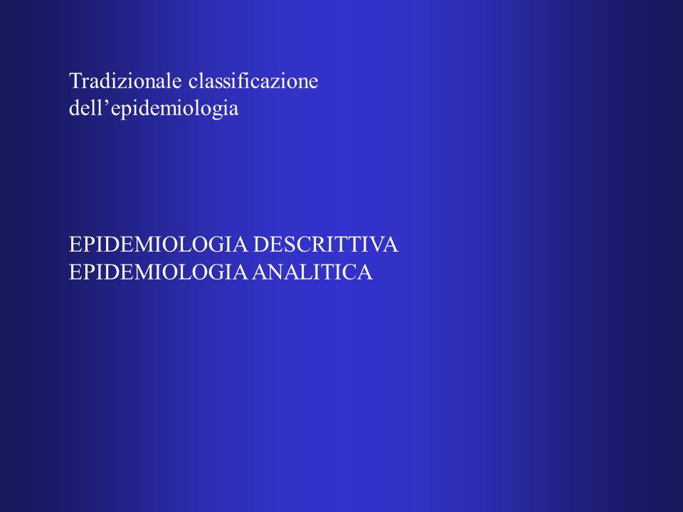 Tradizionale classificazione dell'epidemiologia EPIDEMIOLOGIA DESCRITTIVA EPIDEMIOLOGIA ANALITICA