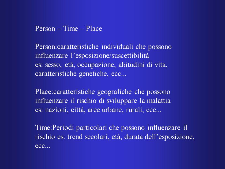 Person – Time – Place Person:caratteristiche individuali che possono influenzare l'esposizione/suscettibilità es: sesso, età, occupazione, abitudini di vita, caratteristiche genetiche, ecc...