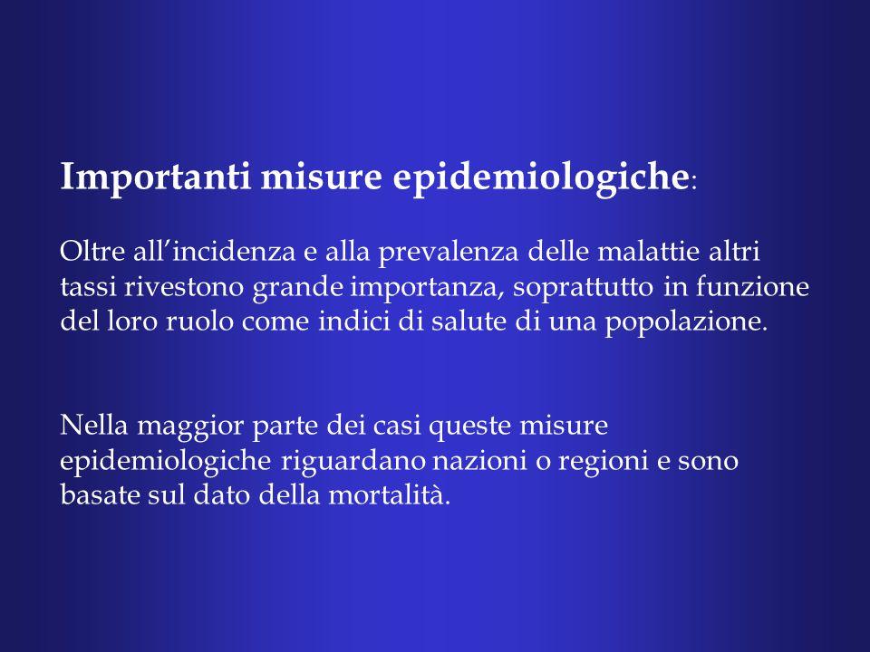 Importanti misure epidemiologiche : Oltre all'incidenza e alla prevalenza delle malattie altri tassi rivestono grande importanza, soprattutto in funzione del loro ruolo come indici di salute di una popolazione.