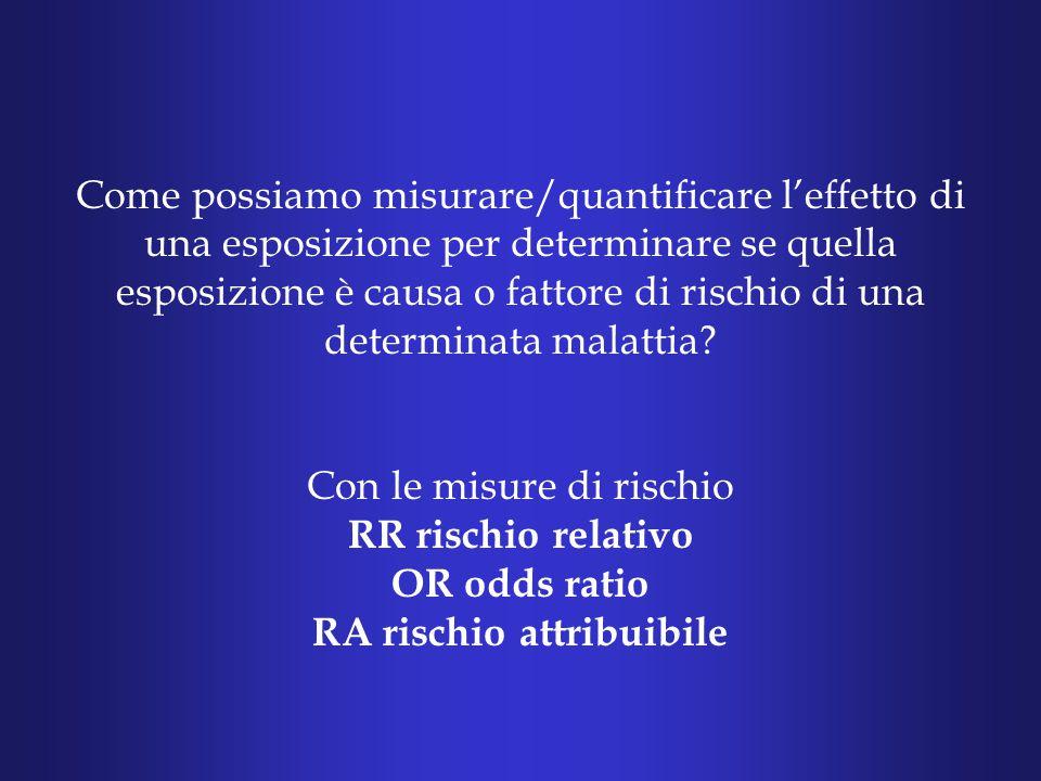 Come possiamo misurare/quantificare l'effetto di una esposizione per determinare se quella esposizione è causa o fattore di rischio di una determinata malattia.