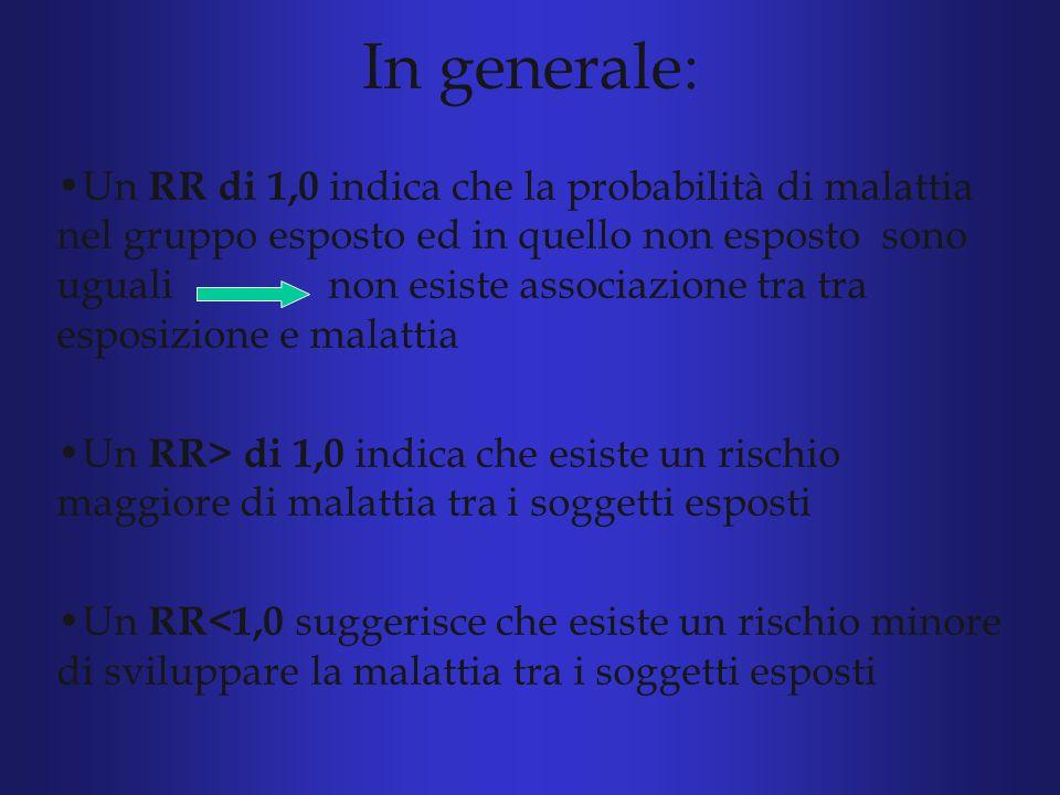 In generale : Un RR di 1,0 indica che la probabilità di malattia nel gruppo esposto ed in quello non esposto sono uguali non esiste associazione tra tra esposizione e malattia Un RR> di 1,0 indica che esiste un rischio maggiore di malattia tra i soggetti esposti Un RR<1,0 suggerisce che esiste un rischio minore di sviluppare la malattia tra i soggetti esposti