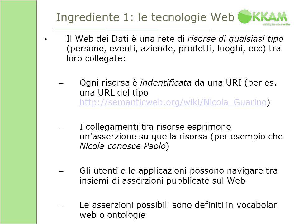 Ingrediente 1: le tecnologie Web Il Web dei Dati è una rete di risorse di qualsiasi tipo (persone, eventi, aziende, prodotti, luoghi, ecc) tra loro collegate: – Ogni risorsa è indentificata da una URI (per es.