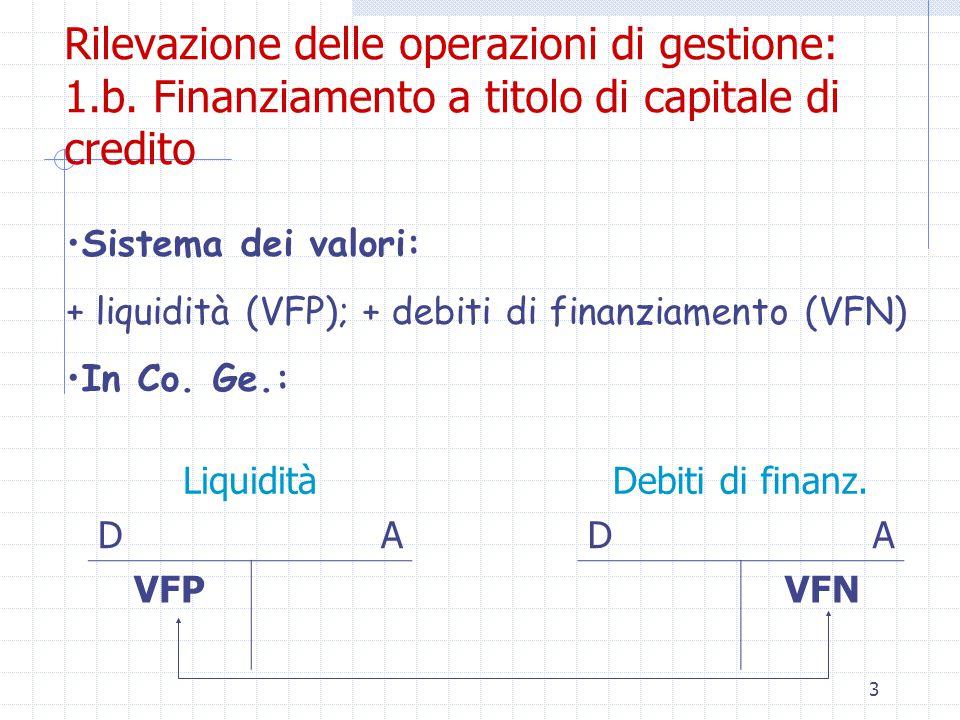 3 Rilevazione delle operazioni di gestione: 1.b.