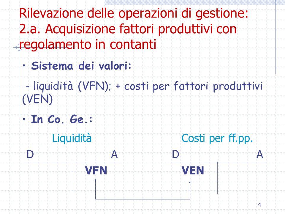 4 Rilevazione delle operazioni di gestione: 2.a.