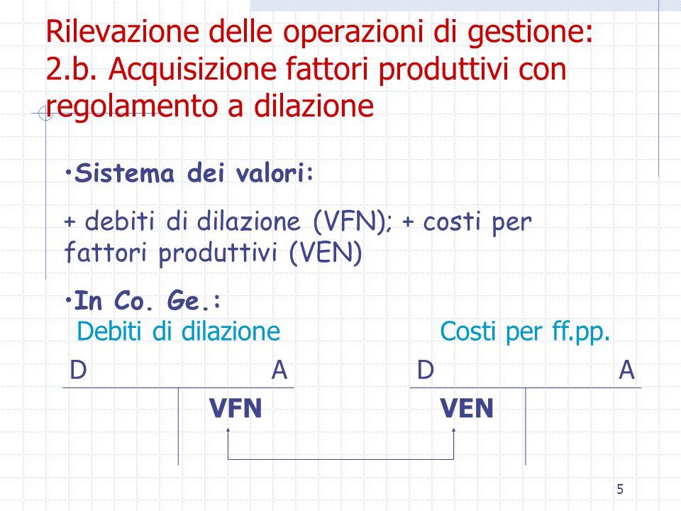 6 Rilevazione delle operazioni di gestione: 3.a.