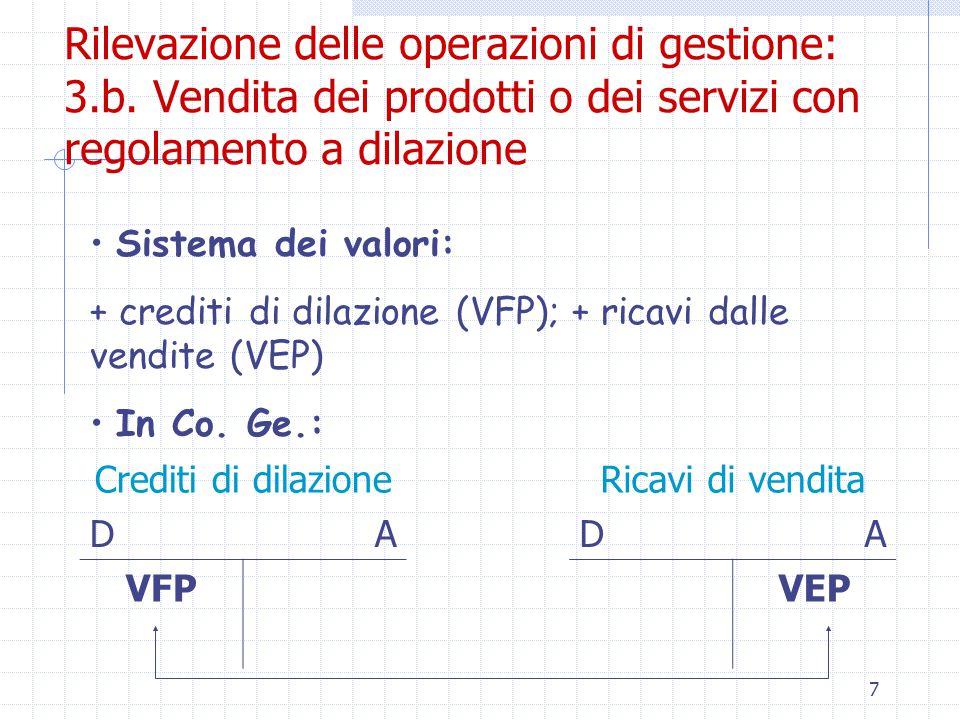 7 Rilevazione delle operazioni di gestione: 3.b.