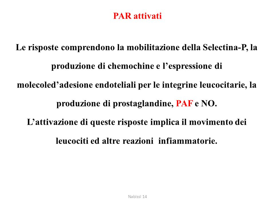 Le risposte comprendono la mobilitazione della Selectina-P, la produzione di chemochine e l'espressione di molecoled'adesione endoteliali per le integ