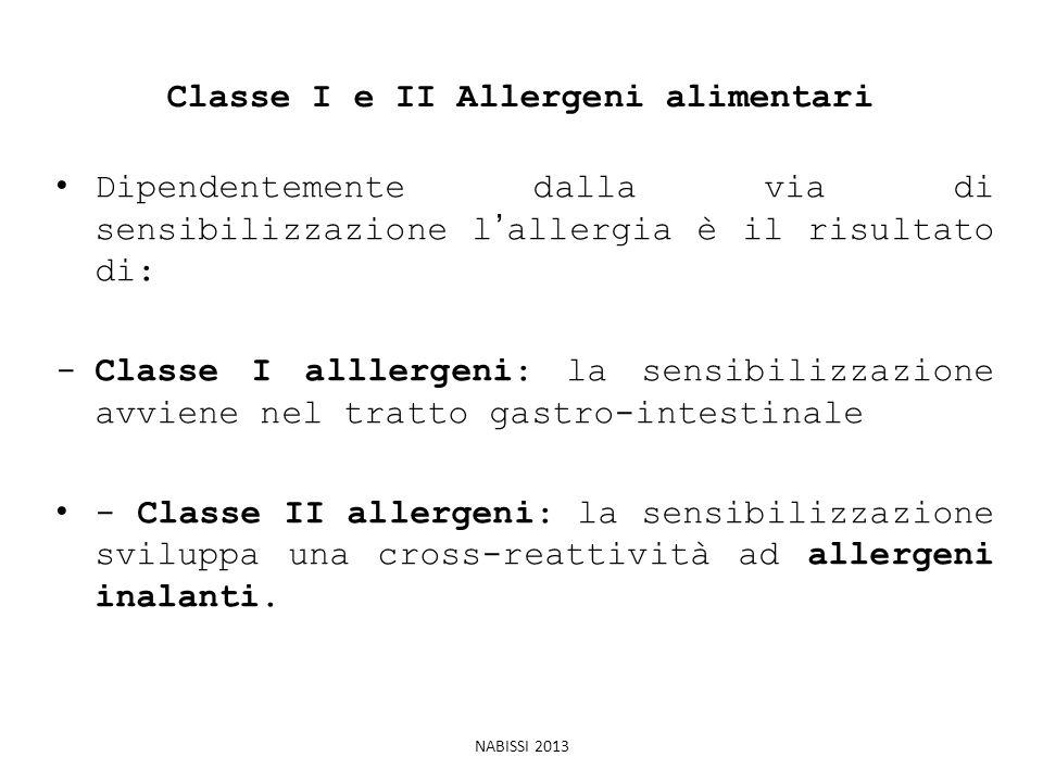 Classe I e II Allergeni alimentari Dipendentemente dalla via di sensibilizzazione l'allergia è il risultato di: -Classe I alllergeni: la sensibilizzaz