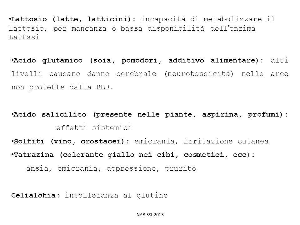 Lattosio (latte, latticini): incapacità di metabolizzare il lattosio, per mancanza o bassa disponibilità dell'enzima Lattasi Acido glutamico (soia, po