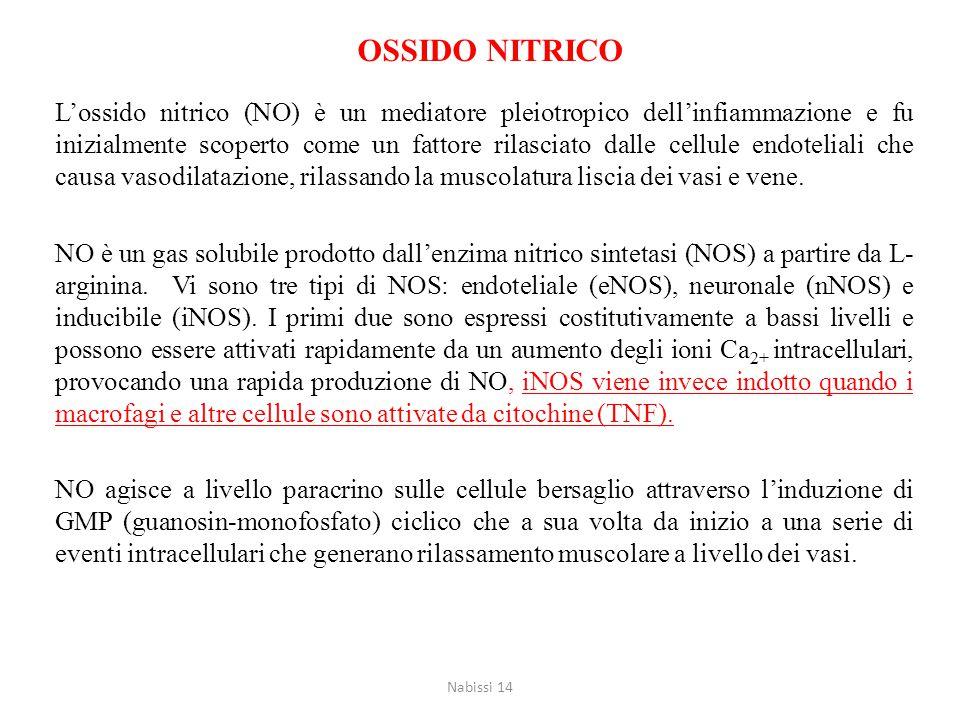OSSIDO NITRICO L'ossido nitrico (NO) è un mediatore pleiotropico dell'infiammazione e fu inizialmente scoperto come un fattore rilasciato dalle cellul
