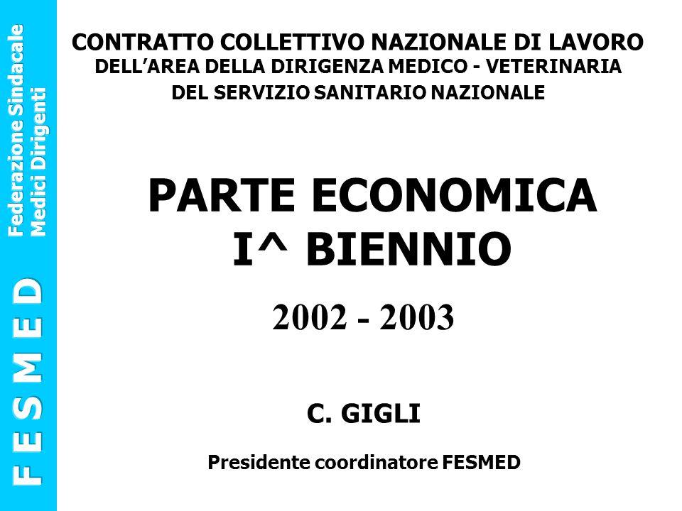2002 - 2003 CONTRATTO COLLETTIVO NAZIONALE DI LAVORO DELL'AREA DELLA DIRIGENZA MEDICO - VETERINARIA DEL SERVIZIO SANITARIO NAZIONALE PARTE ECONOMICA I