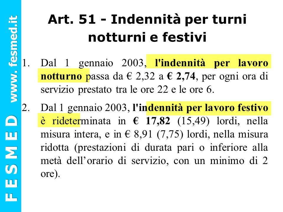 Art. 51 - Indennità per turni notturni e festivi 1.Dal 1 gennaio 2003, l'indennità per lavoro notturno passa da € 2,32 a € 2,74, per ogni ora di servi