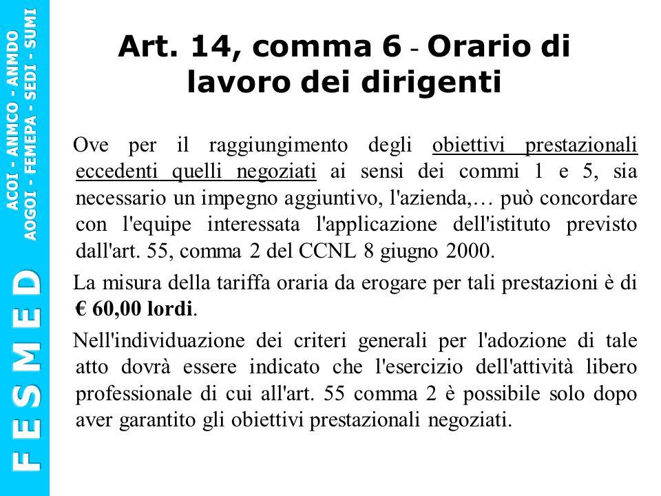 Art. 14, comma 6 - Orario di lavoro dei dirigenti Ove per il raggiungimento degli obiettivi prestazionali eccedenti quelli negoziati ai sensi dei comm