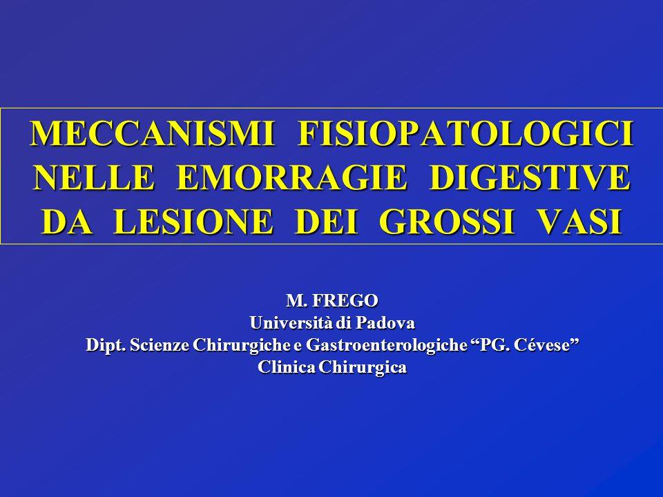 """M. FREGO Università di Padova Dipt. Scienze Chirurgiche e Gastroenterologiche """"PG. Cévese"""" Clinica Chirurgica MECCANISMI FISIOPATOLOGICI NELLE EMORRAG"""