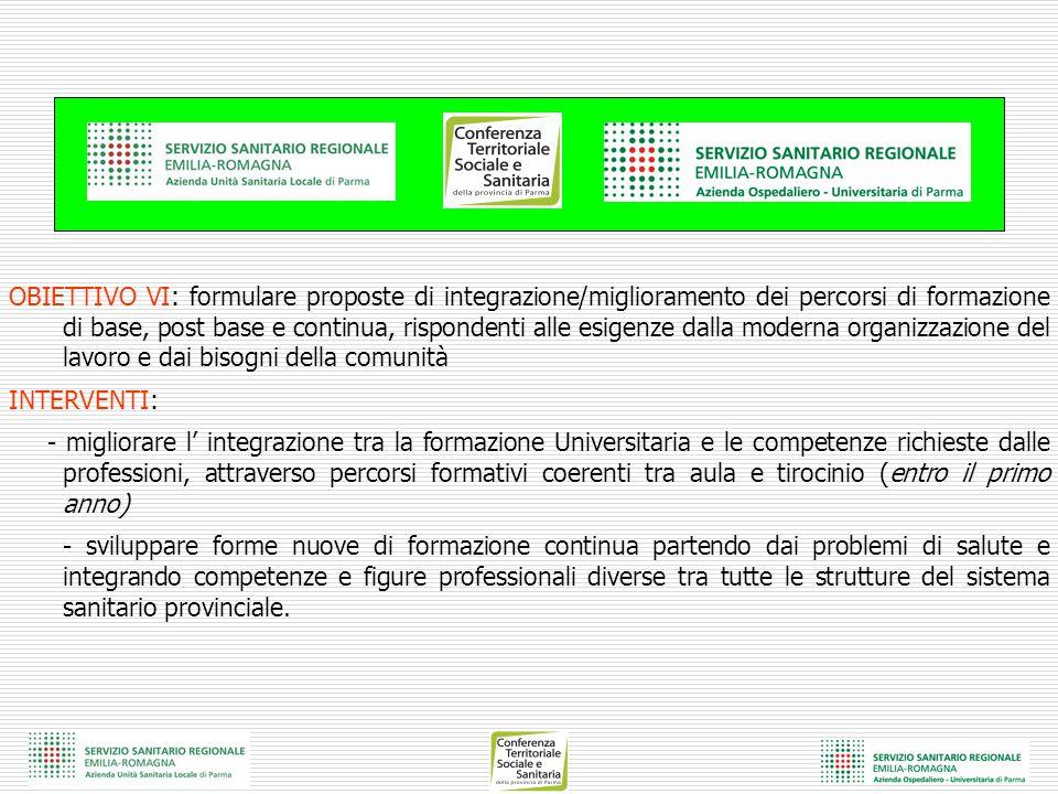 OBIETTIVO VI: formulare proposte di integrazione/miglioramento dei percorsi di formazione di base, post base e continua, rispondenti alle esigenze dal