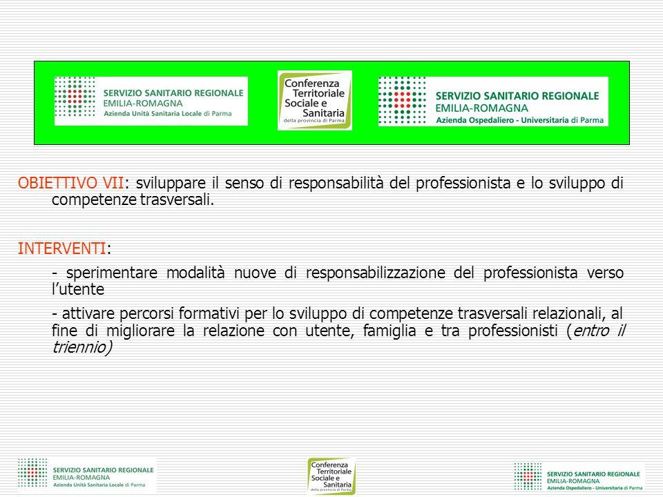 OBIETTIVO VII: sviluppare il senso di responsabilità del professionista e lo sviluppo di competenze trasversali. INTERVENTI: - sperimentare modalità n