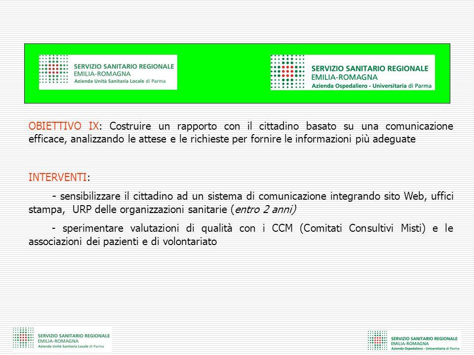 OBIETTIVO IX: Costruire un rapporto con il cittadino basato su una comunicazione efficace, analizzando le attese e le richieste per fornire le informa