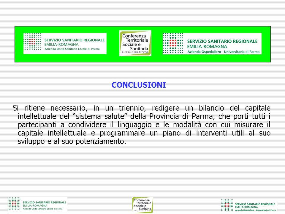 """CONCLUSIONI Si ritiene necessario, in un triennio, redigere un bilancio del capitale intellettuale del """"sistema salute"""" della Provincia di Parma, che"""