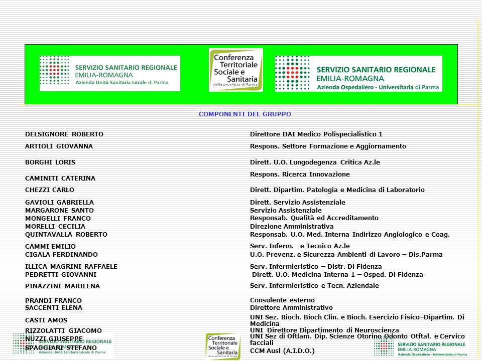 COMPONENTI DEL GRUPPO DELSIGNORE ROBERTODirettore DAI Medico Polispecialistico 1 ARTIOLI GIOVANNARespons. Settore Formazione e Aggiornamento BORGHI LO