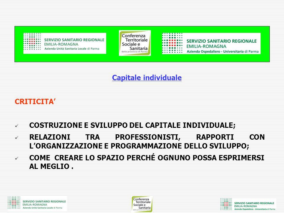 Capitale individuale CRITICITA' COSTRUZIONE E SVILUPPO DEL CAPITALE INDIVIDUALE; RELAZIONI TRA PROFESSIONISTI, RAPPORTI CON L'ORGANIZZAZIONE E PROGRAM