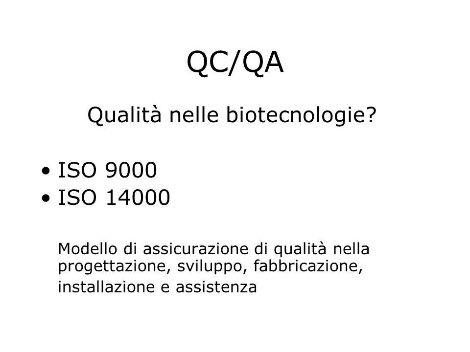 QC/QA Qualità nelle biotecnologie.