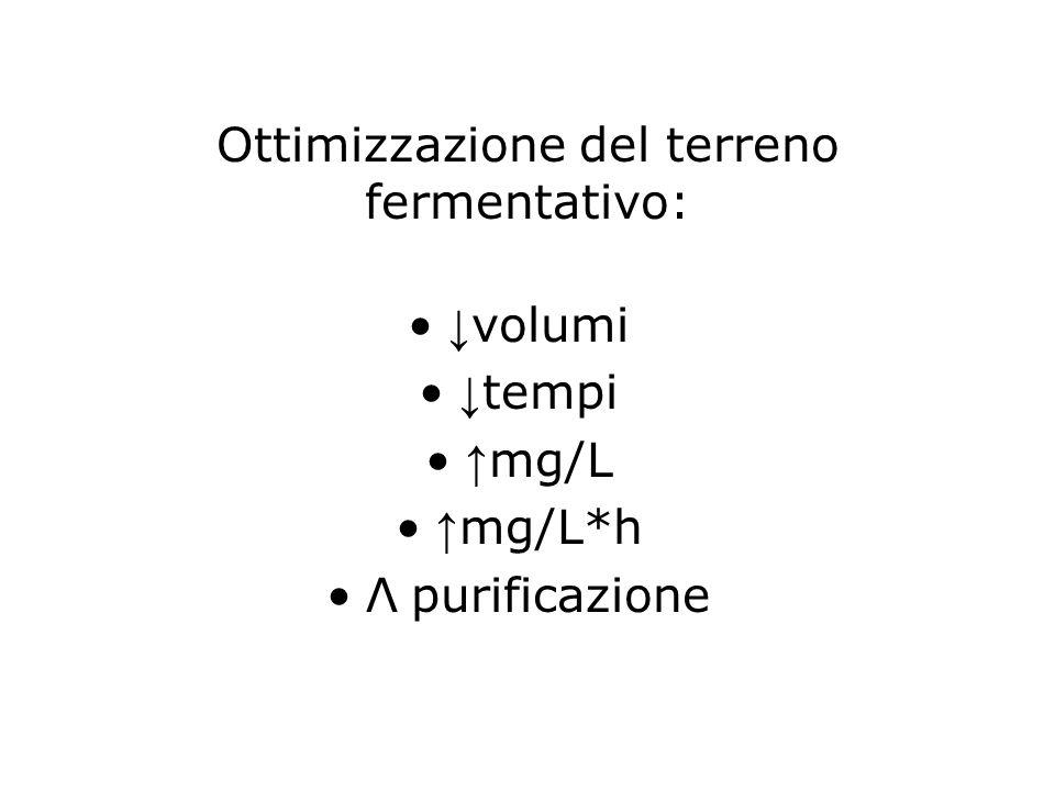 Ottimizzazione del terreno fermentativo: ↓ volumi ↓ tempi ↑ mg/L ↑ mg/L*h Λ purificazione