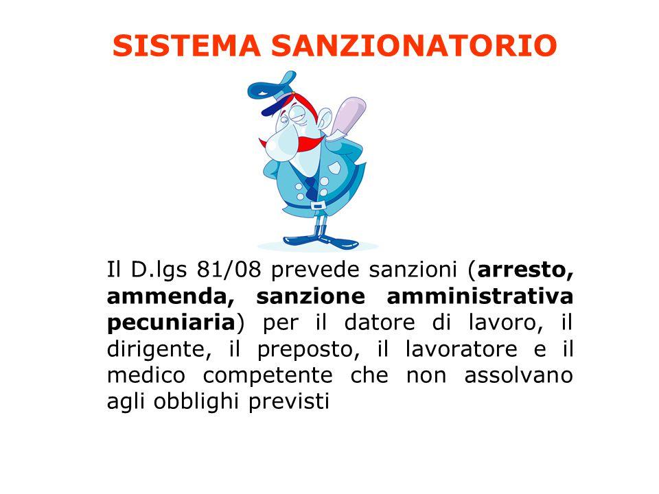 SISTEMA SANZIONATORIO Il D.lgs 81/08 prevede sanzioni (arresto, ammenda, sanzione amministrativa pecuniaria) per il datore di lavoro, il dirigente, il