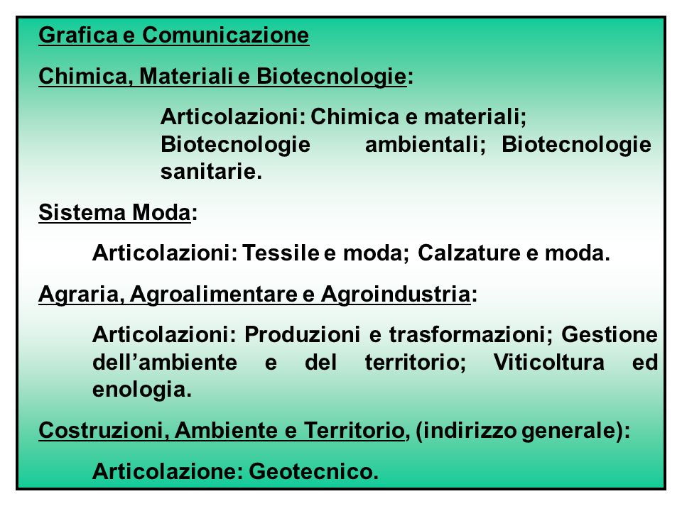 Grafica e Comunicazione Chimica, Materiali e Biotecnologie: Articolazioni: Chimica e materiali; Biotecnologie ambientali; Biotecnologie sanitarie.
