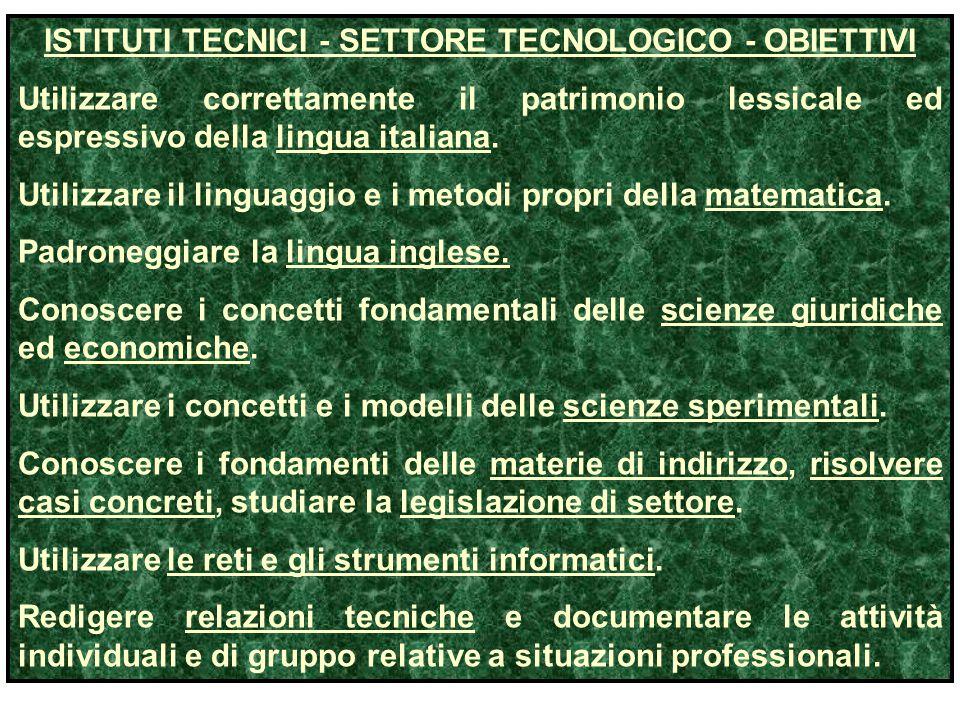 ISTITUTI TECNICI - SETTORE TECNOLOGICO - OBIETTIVI Utilizzare correttamente il patrimonio lessicale ed espressivo della lingua italiana. Utilizzare il