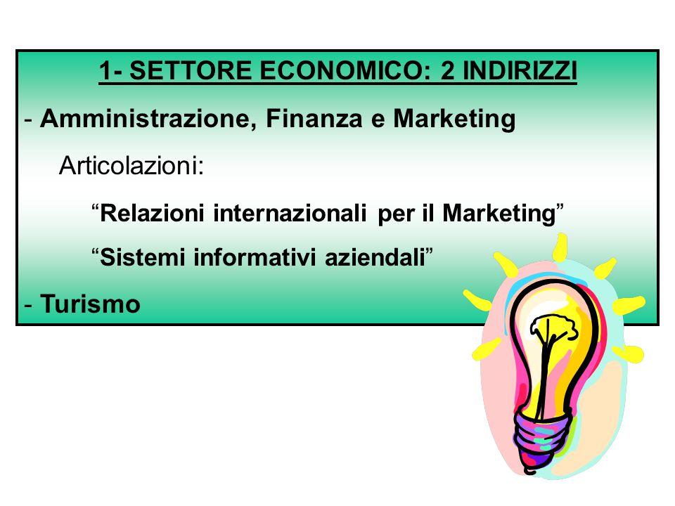 """1- SETTORE ECONOMICO: 2 INDIRIZZI - Amministrazione, Finanza e Marketing Articolazioni: """"Relazioni internazionali per il Marketing"""" """"Sistemi informati"""