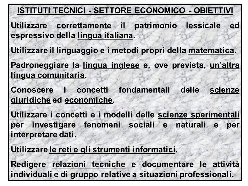 ISTITUTI TECNICI - SETTORE ECONOMICO - OBIETTIVI Utilizzare correttamente il patrimonio lessicale ed espressivo della lingua italiana. Utilizzare il l