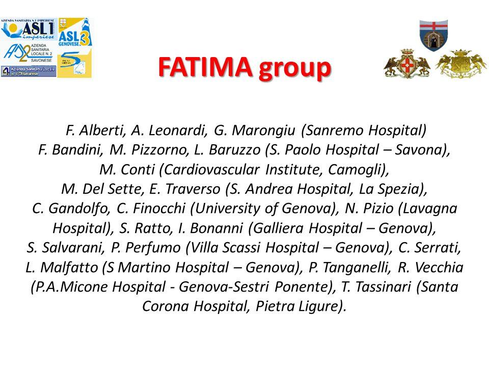 FATIMA group FATIMA group F. Alberti, A. Leonardi, G. Marongiu (Sanremo Hospital) F. Bandini, M. Pizzorno, L. Baruzzo (S. Paolo Hospital – Savona), M.