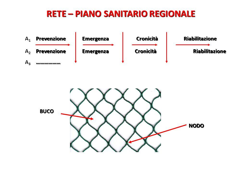 RETE – PIANO SANITARIO REGIONALE A1A1 Prevenzione Emergenza Cronicità Riabilitazione A2A2 A3A3……………… BUCO NODO