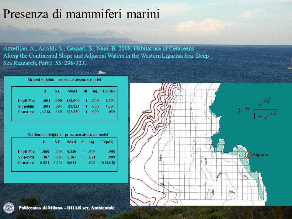 Presenza di mammiferi marini Azzellino, A., Airoldi, S., Gaspari, S., Nani, B.