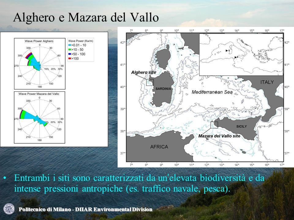 Alghero e Mazara del Vallo Politecnico di Milano - DIIAR Environmental Division Entrambi i siti sono caratterizzati da un'elevata biodiversità e da intense pressioni antropiche (es.