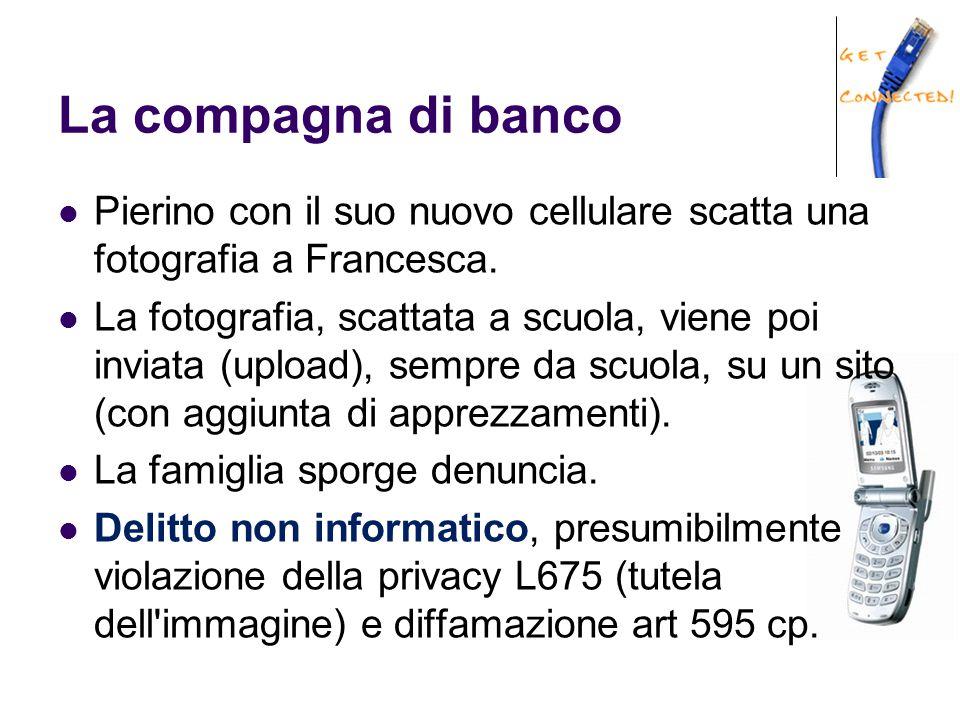 La compagna di banco Pierino con il suo nuovo cellulare scatta una fotografia a Francesca. La fotografia, scattata a scuola, viene poi inviata (upload