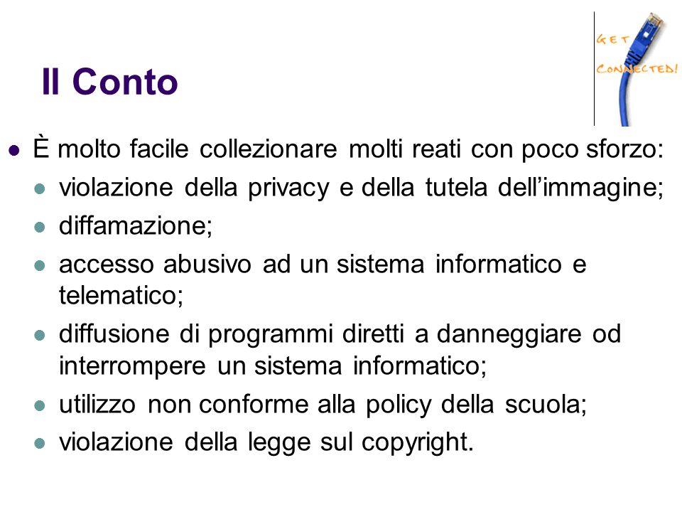 Il Conto È molto facile collezionare molti reati con poco sforzo: violazione della privacy e della tutela dell'immagine; diffamazione; accesso abusivo