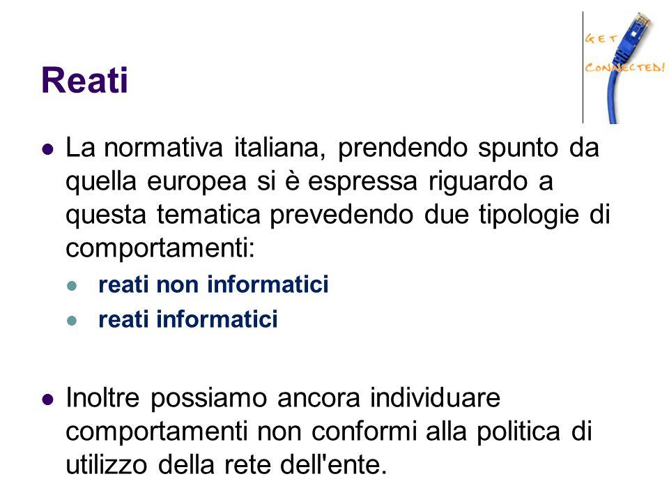 Reati La normativa italiana, prendendo spunto da quella europea si è espressa riguardo a questa tematica prevedendo due tipologie di comportamenti: re
