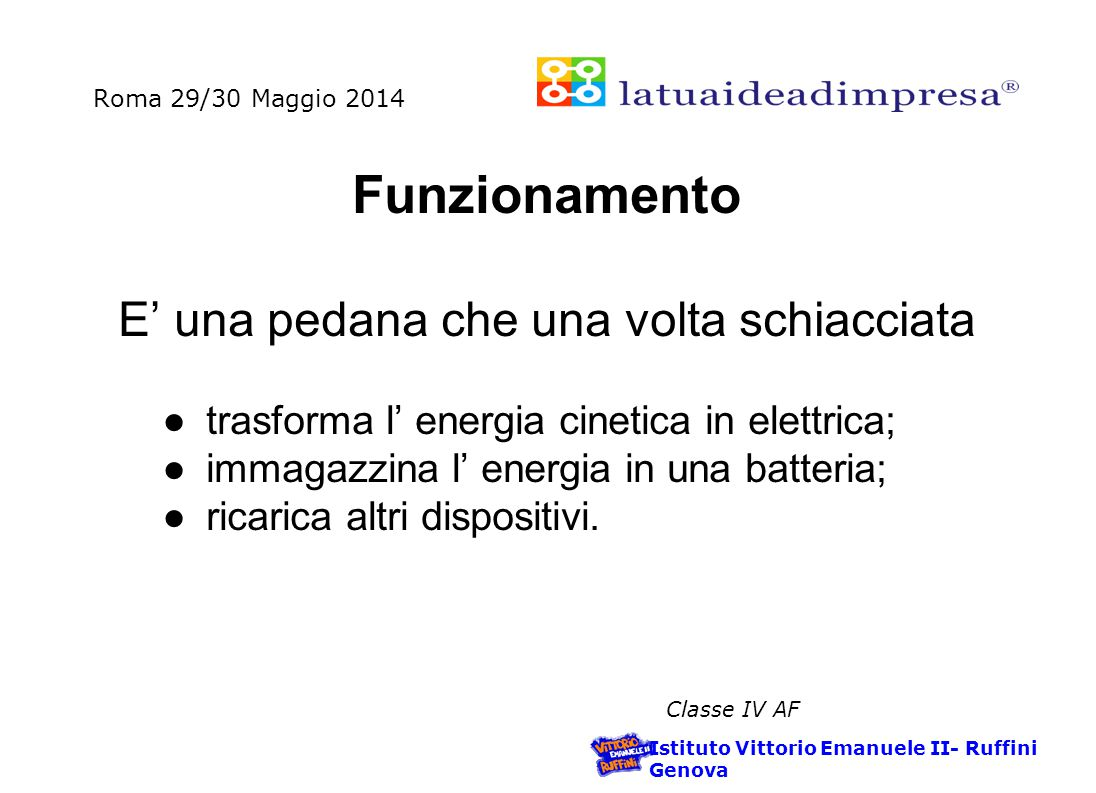 Roma 29/30 Maggio 2014 Istituto Vittorio Emanuele II- Ruffini Genova Classe IV AF Installare Charge it.