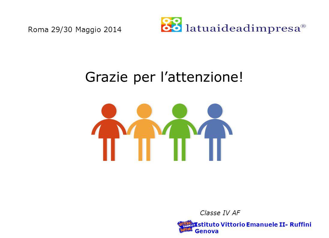 Roma 29/30 Maggio 2014 Istituto Vittorio Emanuele II- Ruffini Genova Classe IV AF Grazie per l'attenzione!