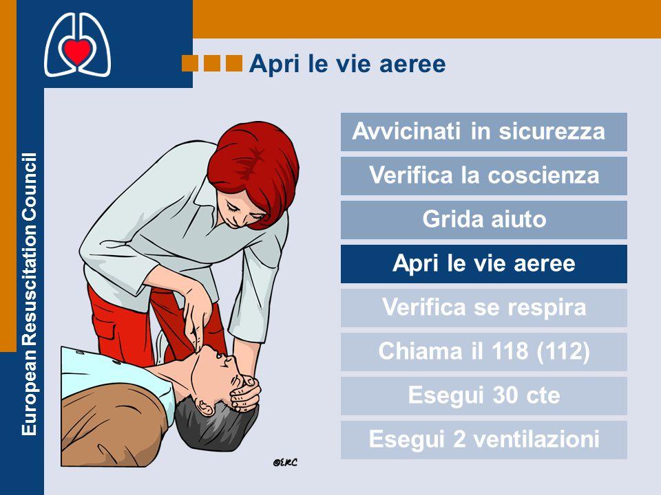European Resuscitation Council Apri le vie aeree Avvicinati in sicurezza Verifica la coscienza Grida aiuto Apri le vie aeree Verifica se respira Chiam