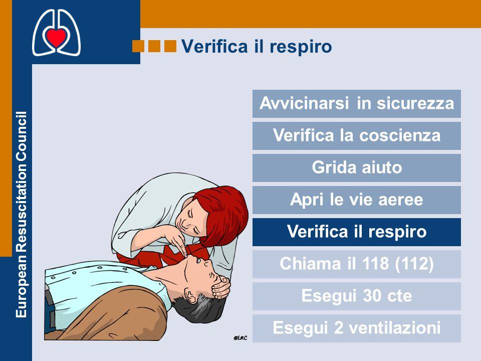European Resuscitation Council Verifica il respiro Avvicinarsi in sicurezza Verifica la coscienza Grida aiuto Apri le vie aeree Verifica il respiro Ch