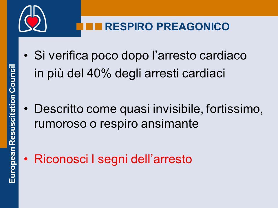 European Resuscitation Council RESPIRO PREAGONICO Si verifica poco dopo l'arresto cardiaco in più del 40% degli arresti cardiaci Descritto come quasi
