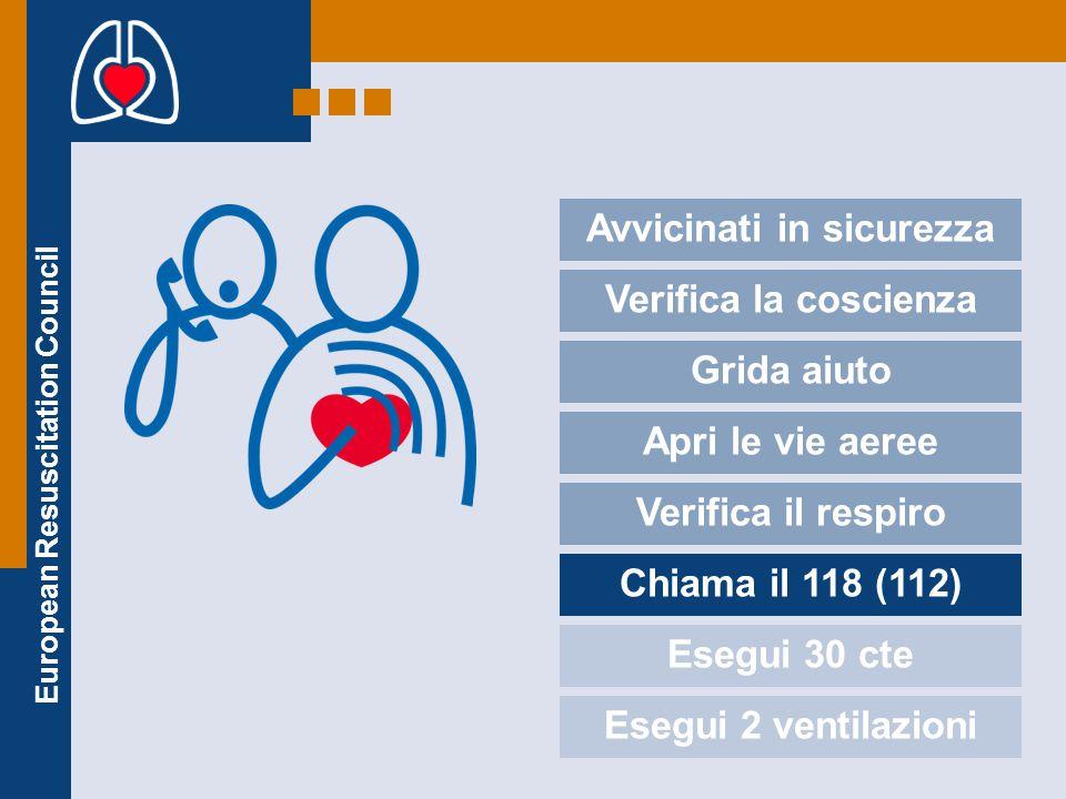 European Resuscitation Council Avvicinati in sicurezza Verifica la coscienza Grida aiuto Apri le vie aeree Verifica il respiro Chiama il 118 (112) Ese
