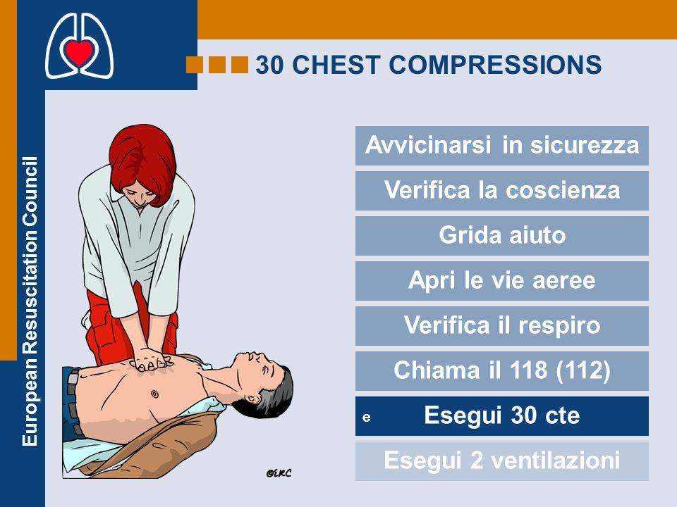 European Resuscitation Council 30 CHEST COMPRESSIONS Avvicinarsi in sicurezza e Verifica la coscienza Grida aiuto Apri le vie aeree Verifica il respir