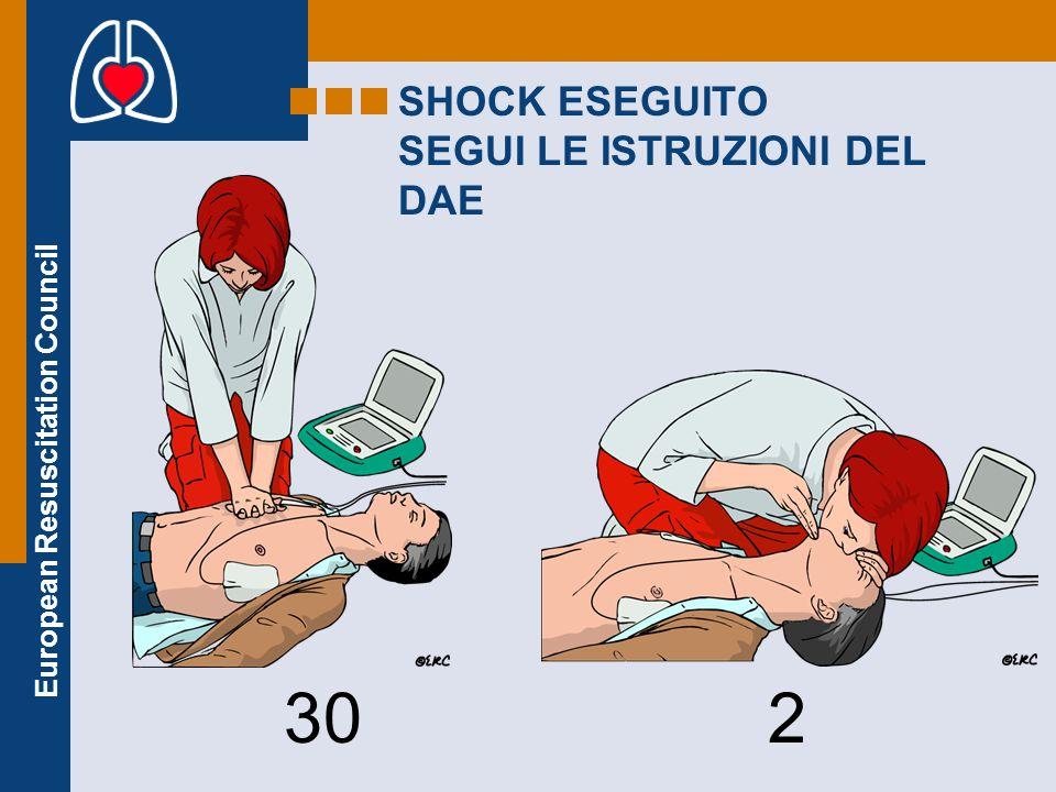 European Resuscitation Council SHOCK ESEGUITO SEGUI LE ISTRUZIONI DEL DAE 30 2