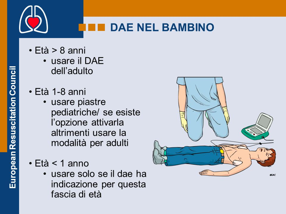 European Resuscitation Council DAE NEL BAMBINO Età > 8 anni usare il DAE dell'adulto Età 1-8 anni usare piastre pediatriche/ se esiste l'opzione attiv